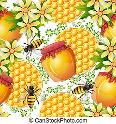 Patrón sin sentido con jarrón de miel