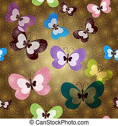 Patrón sin sentido con mariposas verdes