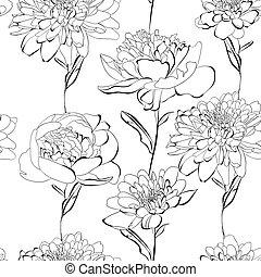 Patrón sin sentido con muchas flores