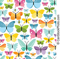 Patrón sin sentido con muchas mariposas coloridas divertidas