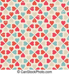 Patrón sin vector del Día de San Valentín al estilo retro.