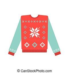 patrón, suéter, copo de nieve, navidad, feo