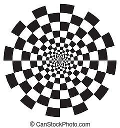 patrón, tablero de damas, diseño, espiral