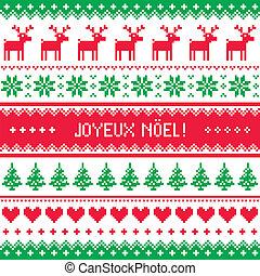 patrón, tarjeta, joyeux, noel, navidad