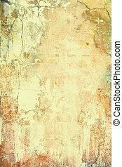 Patrón texturizado, marrón y rojo en el telón amarillo