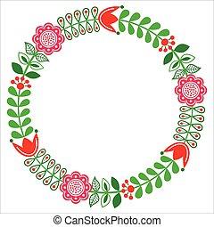 Patrón tradicional floral finlandés, estilo nórdico, escandinavo