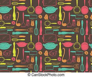 Patrón utensilio de cocina sin costura