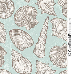 patrón, vector, conchas de mar