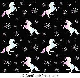 Patrón vector de unicornio holográfico con nieve