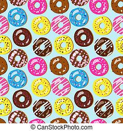 Patrón vectorial sin daños de donuts