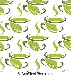 Patrón verde de té verde fresco sin costura