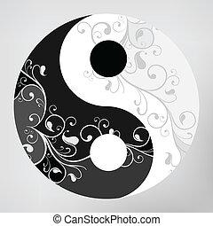 patrón, yang, símbolo, yin