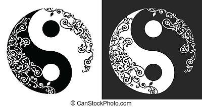 patrón, yang, símbolo, yin, dos