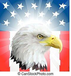 patriótico, águila, bandera estadounidense