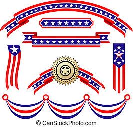 patriótico, norteamericano, cintas