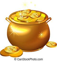 patrick`s, oro, olla, coins, s., vector, día