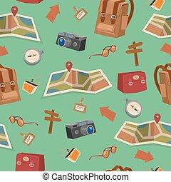 Patrones de campamento sin costuras con equipaje, accesorios de viaje y mapa