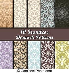 Patrones de damasco sin costura
