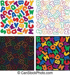 Patrones de diseño de fondo alfabeto
