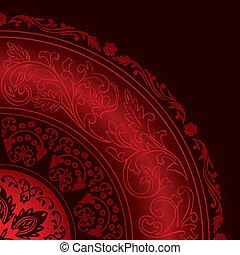 patrones, decorativo, vendimia, rojo, marco, redondo