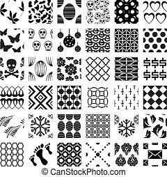 patrones, geométrico, seamless, conjunto, monocromo