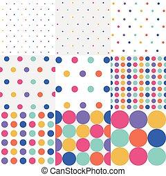 patrones, punto, seamless, polca, conjunto