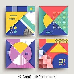 Patrones retro con formas simples abstractas vectores geométricos diseño para portadas, carteles, volantes y estandartes