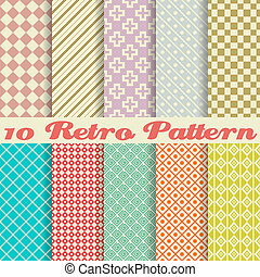 patrones, (tiling), retro, diferente, seamless, diez, vector