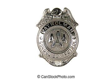 patrulla, niño, insignia