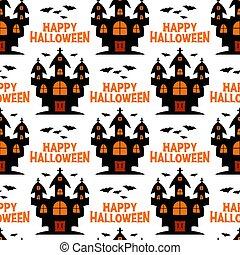 pattern., bruja, halloween, aislado, vuelo, castillo, bats., illustration., acción, seamless, fondo., blanco, vector