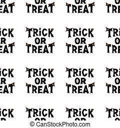 pattern., halloween, aislado, o, illustration., lettering., acción, seamless, gusto, fondo., blanco, vector, truco