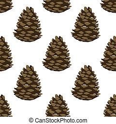 pattern., hermoso, pino, ilustración, cone., seamless, caricatura