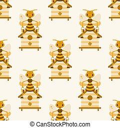 pattern., illustration., hive., abeja