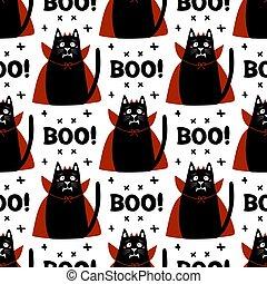 pattern., illustration., uso, word., vampiro, cruz, colmillos, halloween, elementos, rojo, cloak., garabato, blanco, vector, lindo, cuernos, acción, seamless, gato, disfraz, abucheo, aislado, fondo., caricatura