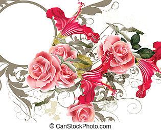 pauta flor, vector, moda