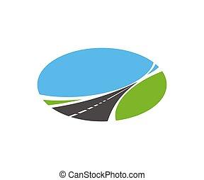 pavimentado, vector, ahusados, camino, carretera, icon., camino