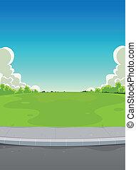 pavimento, parque, plano de fondo, verde
