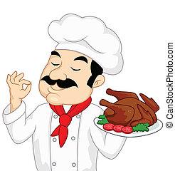pavo, chef, pollo, o, asado