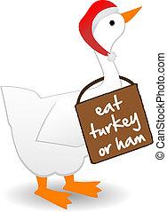 pavo, proclamar, comida, usa, señal, ganso, pájaro, instead, o, jamón