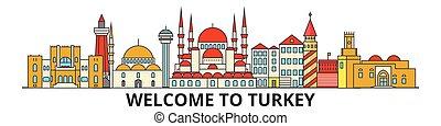 Pavos en el horizonte, iconos de delgada línea plana turca, puntos de referencia, ilustraciones. El paisaje de Turquía, la bandera del vector de viaje turco de la ciudad. Silueta urbana