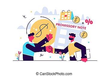 pay., promesa, dinero, préstamo, documento