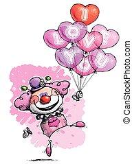Payaso con globos cardíacos diciendo que te amo, colores femeninos