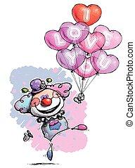 Payaso con globos de corazón diciendo que te amo