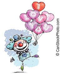 Payaso con globos de corazón diciendo que te amo, colores de niño