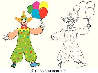 Payaso con globos. Libro de color. Actividad para niños.