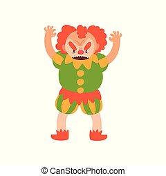 Payaso de pelo rojo enojado con brazos levantados, dibujo animado de Halloween vector de personaje ilustración en un fondo blanco