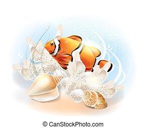 Payasos en el mar. La ilustración del mundo submarino tropical. Pescado de acuario.