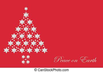paz, árbol, navidad, extracto de tierra