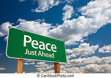 paz, verde, muestra del camino