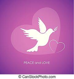 Paz y amor paloma blanca en el fondo rosa
